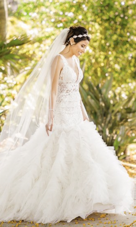 Bride on wedding day wearing Lazaro 3650