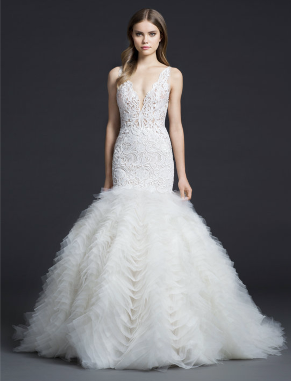 Dramatic ruffled fit-and-flare bridal gown - Lazaro 3650