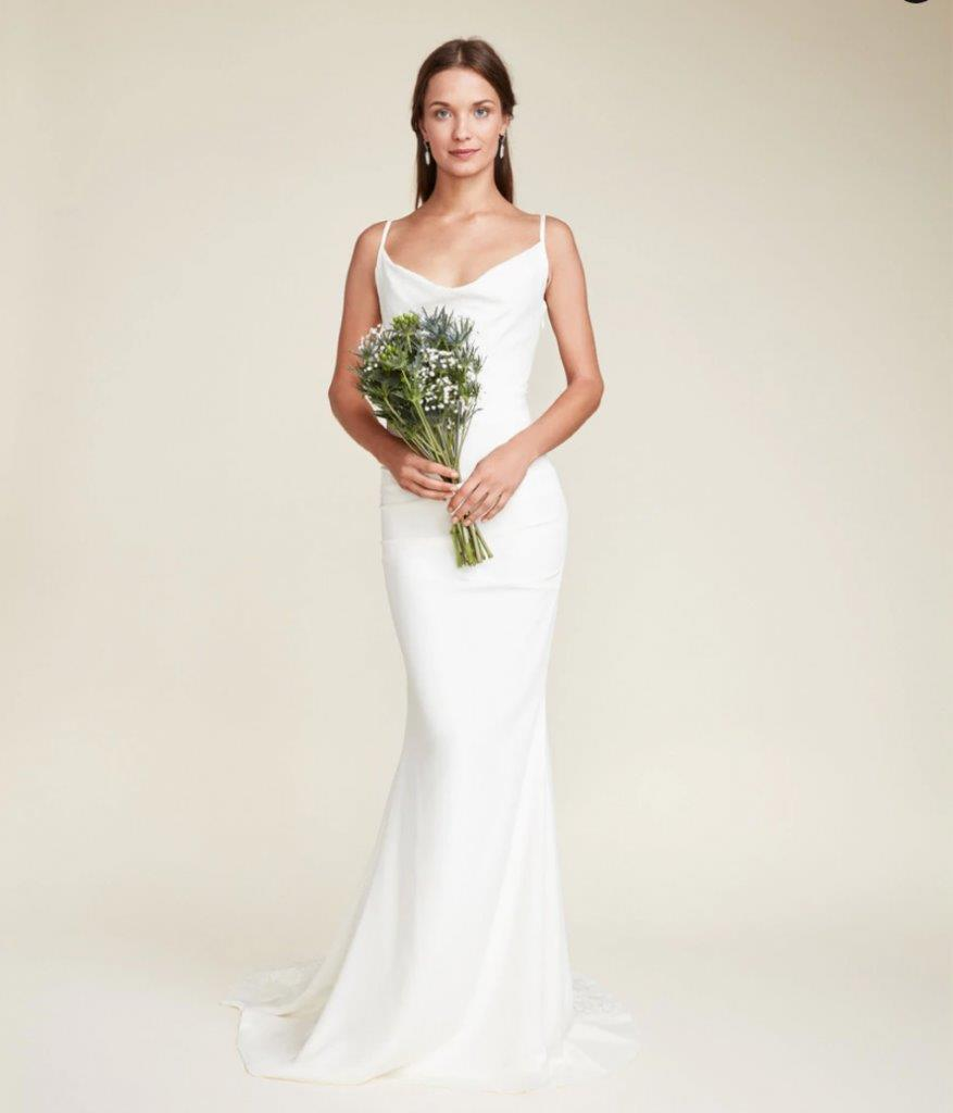 Simple sheath bridal gown with cowl neckline