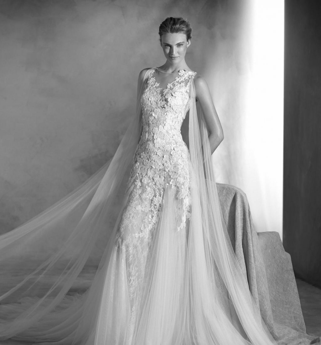Gorgeous lace fit and flare wedding dress by Pronovias