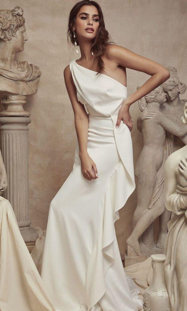 Bride wearing Venus slip dress by Sarah Seven