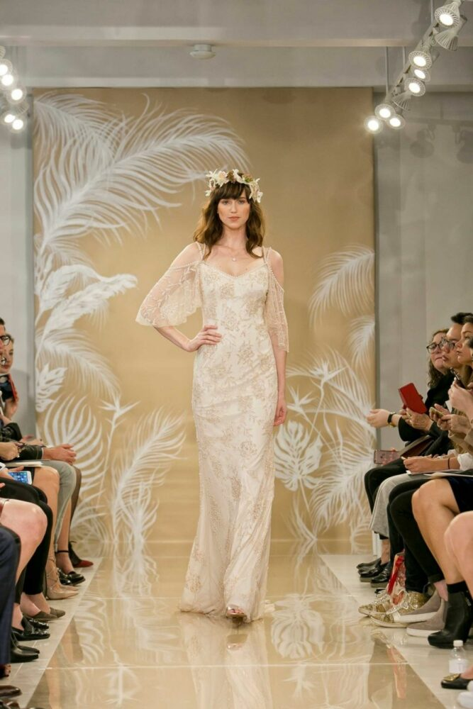bride wearing Theia Layla a beaded sheath wedding dress