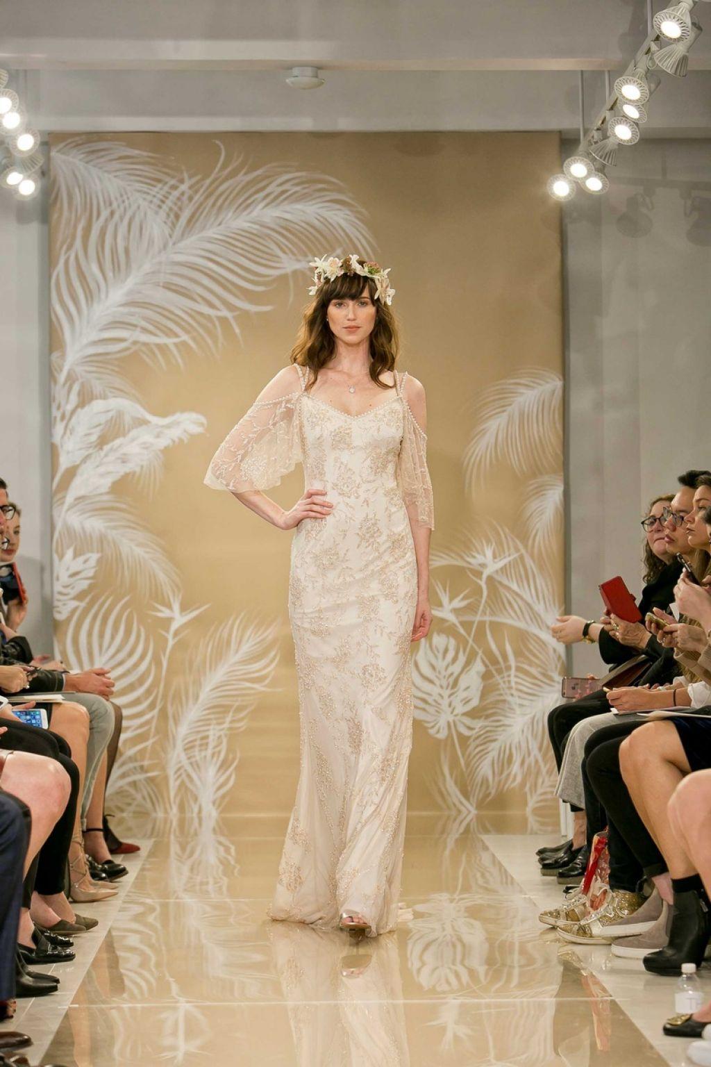 bride wearing Theia Layla a beaded sheath wedding dress