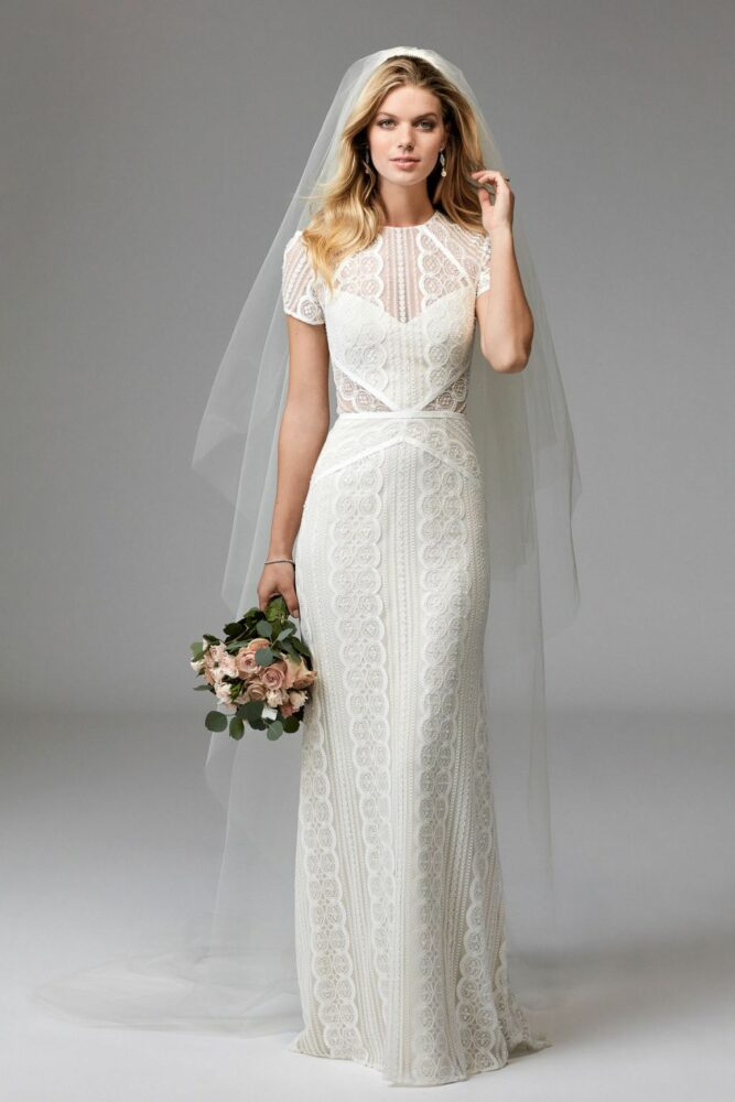 Beautiful, and unique lace sheath wedding dress