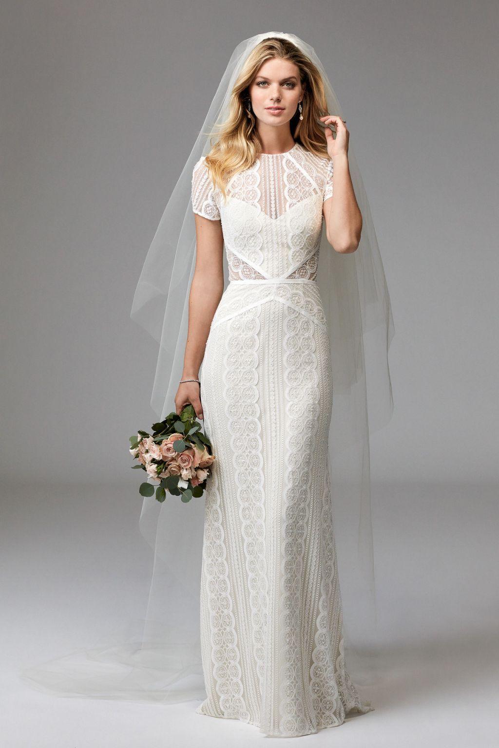 Beautiful, and unique lace sheath wedding dress