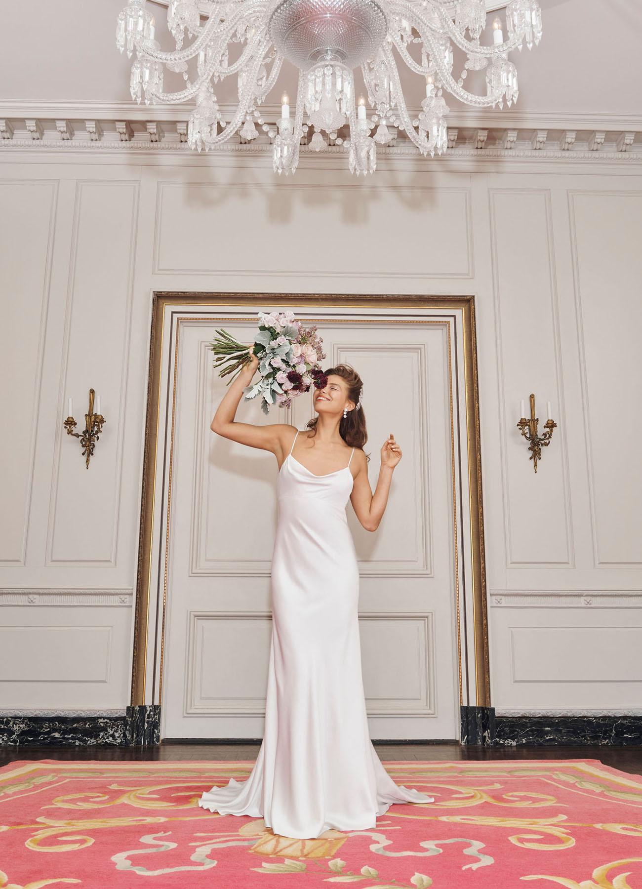 Bride wearing ivory slip wedding dress