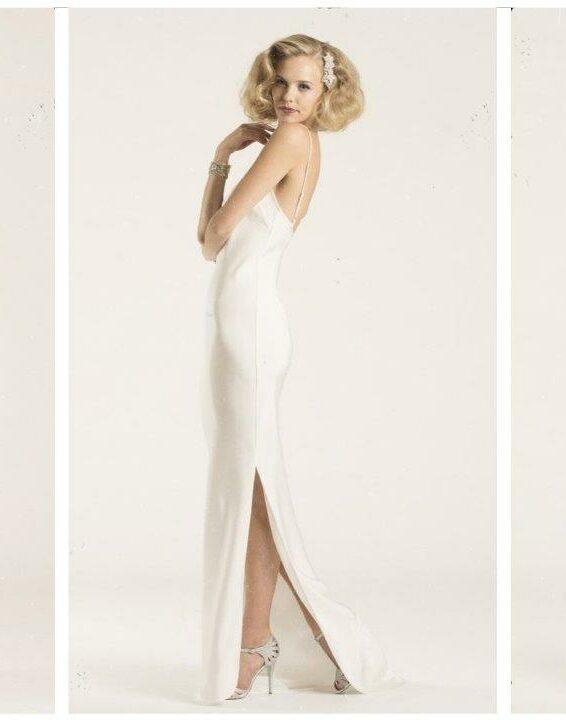 bride wearing slip dress