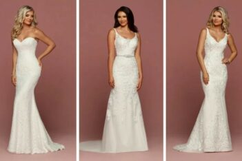 brides wearing various sheath wedding dress styles