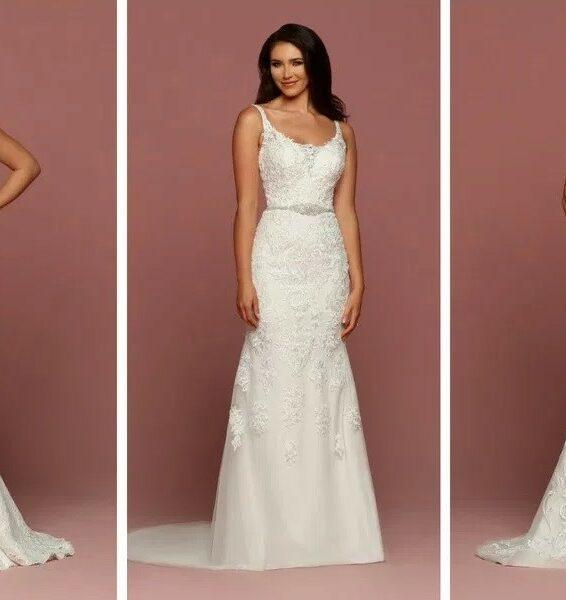 brides wearing various sheath wedding dress styles