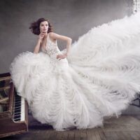 model bride wearing fit and flare wedding dress