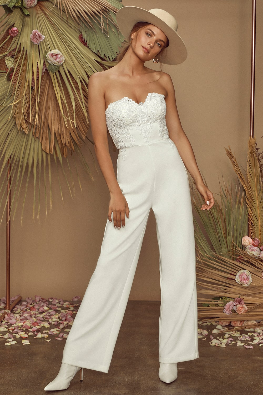 Strapless bridal pantsuit by Lulus