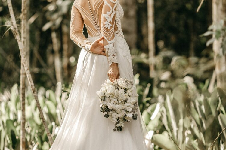 Bride wearing A-line wedding dress