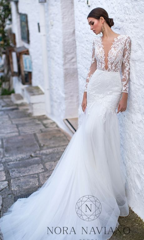 Sexy trumpet wedding dress with lace bodice plunging neckline and long sleeves