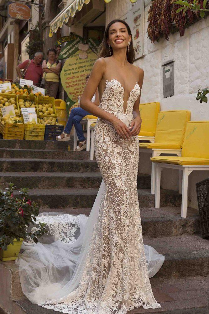 Bride wearing sexy mermaid wedding dress by Berta