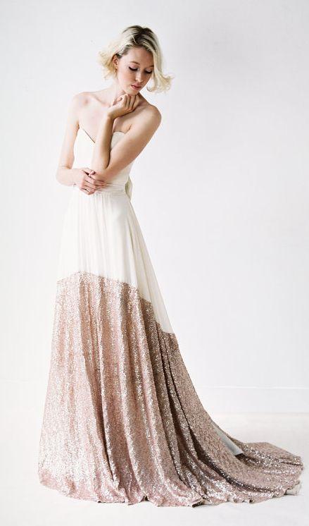 Rose gold color wedding dress
