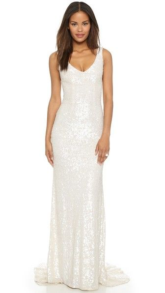 Crisp White With Glittering Movement Heres Another Minimalist Loving Dress That Works For A Modern Wedding