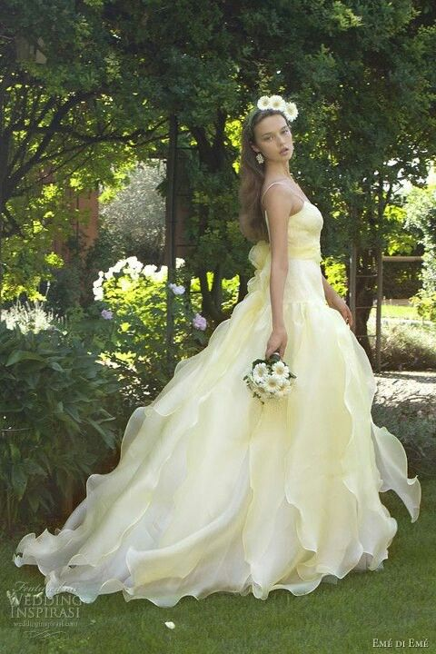 Yellow anything but mellow glowing gowns that will wow wedding float down the aisle in this stunning and whimsy lazaro ball gown junglespirit Images