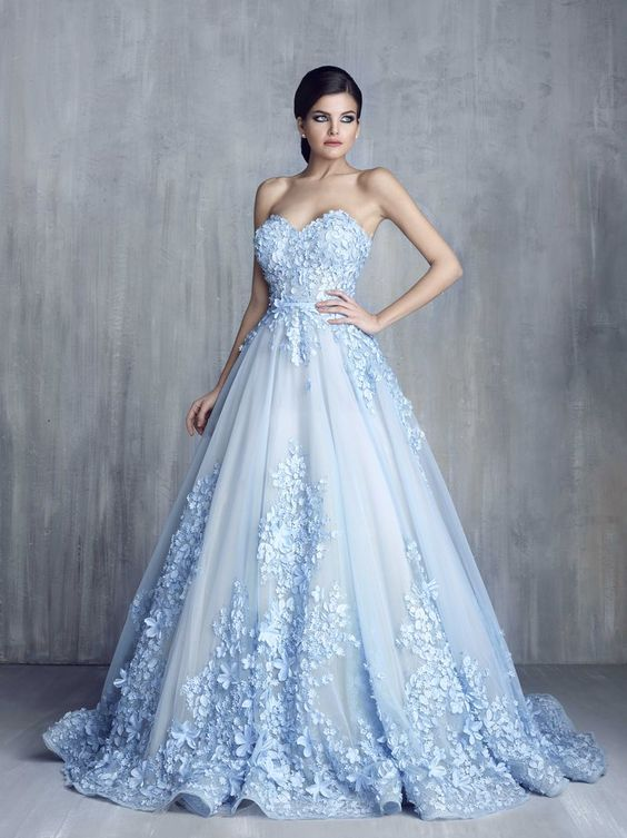More blue wedding gowns that will have you re thinking traditional a ball gown with a floral nod if you want something thats fairy tale worthy then this is your pick junglespirit Gallery