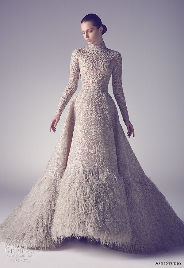 For The Ultimate Drama Go With A Ball Gown That Has It All Color Texture And Feathers Too